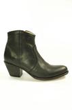 Sendra Boots 10393 Debora Zwart Dames Enkellaars Ronde Neus Ritsluiting Schuine Hoge Hak Leren Zool_9