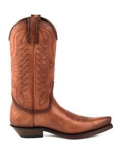 Mayura Boots 1920 Cognac/ Spitse Cowboy Western Line Dance Dames Heren Laarzen Schuine Hak Echt Leer