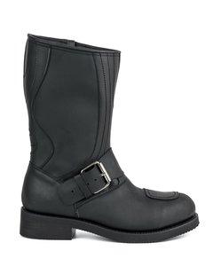 Mayura Boots 1594 Zwart/ Biker Motorlaarzen Dames Heren Ronde Stalen Neus Anti Slip Zool Echt leer