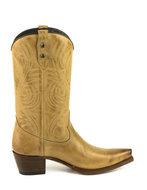 Mayura-Boots-Virgi-2536-Zandkleur--Dames-Western-Laarzen-Sierstiksel-Spitse-Neus-Rechte-Schacht-Hoge-Hak-Glad-Leer