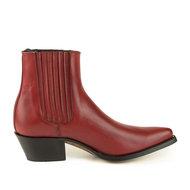 Mayura-Boots-2496-Rood--Spitse-Western-Enkellaars-Dames-Schuine-Hak-Elastiek-Sluiting-Glad-Leer