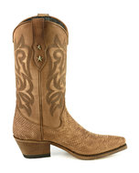 Mayura-Boots-Alabama-2524-Cognac-Lavado--Dames-Westernlaars-Pythonprint-Spitse-Neus-5-cm-Hak-Hoge-Schacht-Echt-Leer