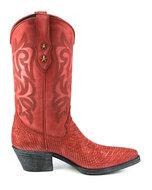 Mayura-Boots-Alabama-2524-Rood-Lavado--Dames-Westernlaars-Pythonprint-Spitse-Neus-5-cm-Hak-Hoge-Schacht-Echt-Leer