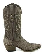 Mayura-Boots-Alabama-2524-Bruin-Lavado--Dames-Westernlaars-Pythonprint-Spitse-Neus-5-cm-Hak-Hoge-Schacht-Echt-Leer