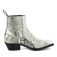 Mayura-Boots-2496P-Wit-Python-Dames-Western-Enkellaarzen-Python-Spitse-Neus-Cowboyhak-Elastiek-Sluiting-Echt-Leer