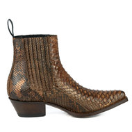 Mayura-Boots-2496P-Cognac--Python-Dames-Western-Enkellaarzen-Spitse-Neus-Cowboyhak-Elastiek-Sluiting-Echt-Leer