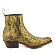Mayura-Boots-2496P-Naturel--Python-Dames-Western-Enkellaarzen-Spitse-Neus-Cowboyhak-Elastiek-Sluiting-Echt-Leer