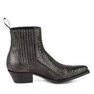Mayura-Boots-2496P-Bruin--Python-Dames-Western-Enkellaarzen-Spitse-Neus-Cowboyhak-Elastiek-Sluiting-Echt-Leer