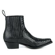 Mayura-Boots-2496P-Zwart--Python-Dames-Western-Enkellaarzen-Spitse-Neus-Cowboyhak-Elastiek-Sluiting-Echt-Leer