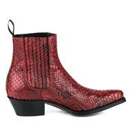 Mayura-Boots-2496P-Rood--Python-Dames-Western-Enkellaarzen-Spitse-Neus-Cowboyhak-Elastiek-Sluiting-Echt-Leer