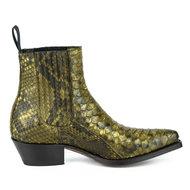 Mayura-Boots-2496P-Kahki--Python-Dames-Western-Enkellaarzen-Spitse-Neus-Cowboyhak-Elastiek-Sluiting-Echt-Leer