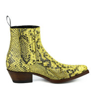 Mayura-Boots-2496P-Geel--Python-Dames-Western-Enkellaarzen-Spitse-Neus-Cowboyhak-Elastiek-Sluiting-Echt-Leer