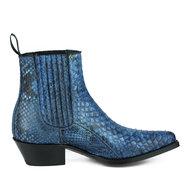 Mayura-Boots-2496-Blauw-Python-Dames-Western-Enkellaarzen-Spitse-Neus-Cowboyhak-Elastiek-Sluiting-Echt-Leer