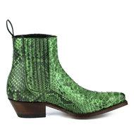 Mayura-Boots-2496P-Groen--Dames-Western-Enkellaarzen-Python-Spitse-Neus-Cowboyhak-Elastiek-Sluiting-Echt-Leer
