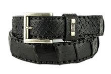 Mayura-Riem-214-Zwart-Krokodil-Python-4cm-Breed-Verwisselbare-Gesp