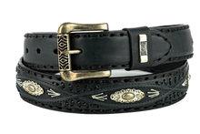 Mayura-Riem-338-Zwart-Cowboy-Western-Concho-Vlechtwerk-4cm-Breed-Verwisselbare-Gesp