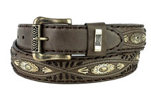 Mayura-Riem-338-Kastanje-Cowboy-Western-Concho-Vlechtwerk-4cm-Breed-Verwisselbare-Gesp